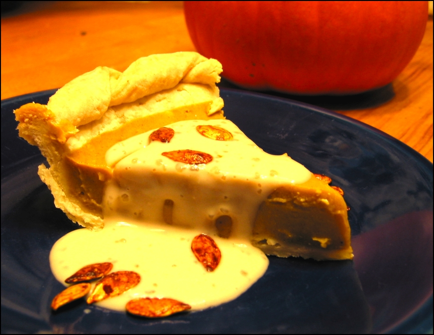 Pumpkin Pie (with Maple Vanilla Sauce and  Maple Spiced Pumpkin Seeds)